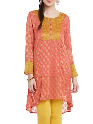 orange viscose highlow kurta
