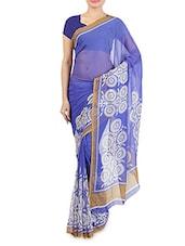 Blue Chiffon Printed Saree - By