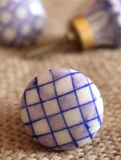 Blue Square Motif Knobs (Set Of 6) - NEERJA