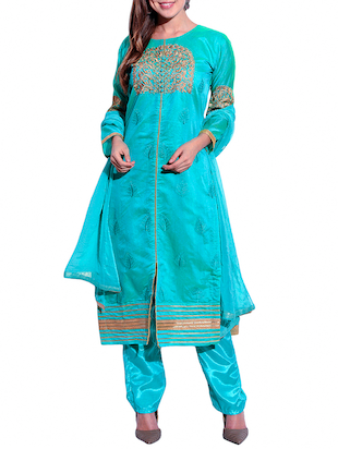 turquoise pure silk straight dress material
