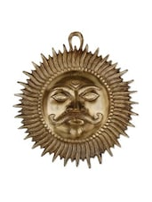 Brown Brass Statue Of Sun Face - By