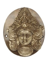 Yellow Brass Goddess Durga Face Door Knocker In Antique Finish - By