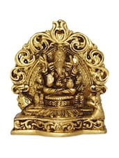 Yellow Brass Lord Ganesha Sitting On A Carving Throne - By