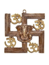 Brown Brown Brass   Made Ganesha And Swastik Brown Brown Brass   Wall Hanging - By