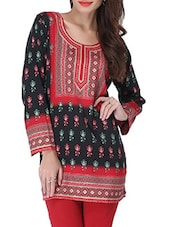 Black And Red Printed Short Kurti - By