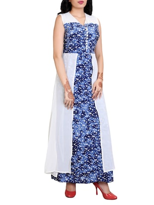 blue printed cotton maxi dress