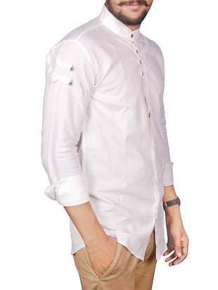 white linen casual shirt - 12441383 - Standard Image - 2