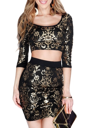 black polyester top and skirt set