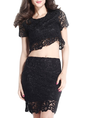 black polyester crop top and skirt set