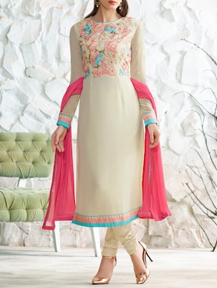 beige georgette churidaar suits unstitched suit