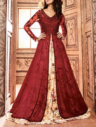 red georgette flared suits unstitched suit
