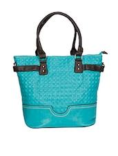 Teal Leatherette Textured Handbag - By