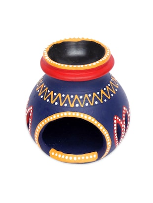 Multicolor warli art terracotta hand painted candle holder