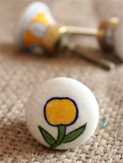 Yellow Cherry Ceramic Knobs (Set Of 6) - NEERJA