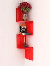 Red Mango Wood Wall Hanging Corner Rack - By