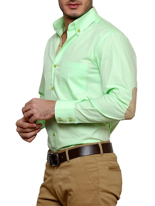 green cotton casual shirt - 12457365 - Standard Image - 2