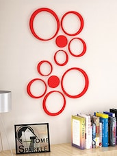 Red Engineered Wooden Set Of 10 Wooden Circles Stickers - By