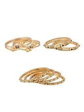 Combo Of Designer Bangles, Pearls Bangles, Gold Plated Bangles - Pack Of 8 - By