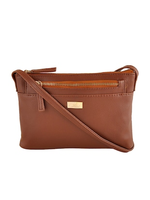 brown synthetic leather sling bag