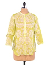 Green Floral Print Polyester Tunic - By