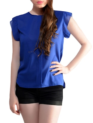 blue chiffon regular top