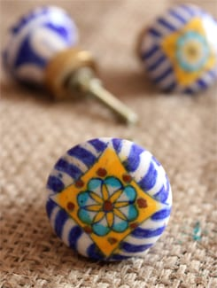Patterned Ceramic Knobs (Set Of 6) - NEERJA