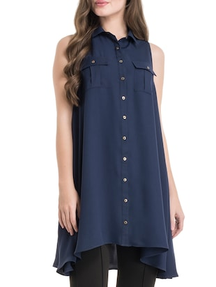 navy blue shirt collar tunic