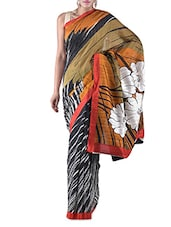 Black Floral Printed Bhagalpuri Silk Saree - By