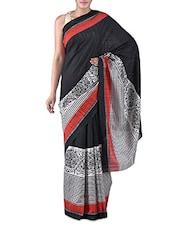 Black Printed Bhagalpuri Silk Saree - By