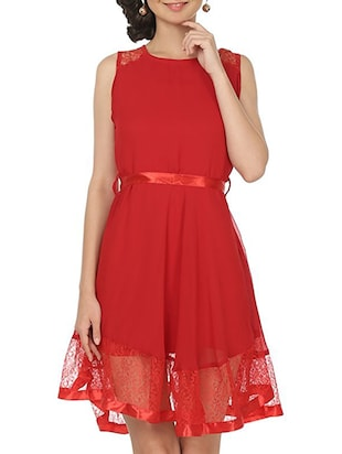 red poly crepe belted dress
