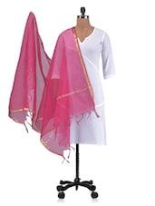 Pink Chandheri Silk Plain Dupatta - By