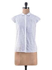 White And Blue Cotton Printed Shirt - By