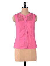 Solid Pink Cotton Laced Top - By