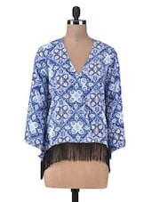 Printed Blue Faux-Wrap Top With Fringe - By
