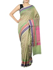 Green Cotton Art Silk And Zari Saree - By