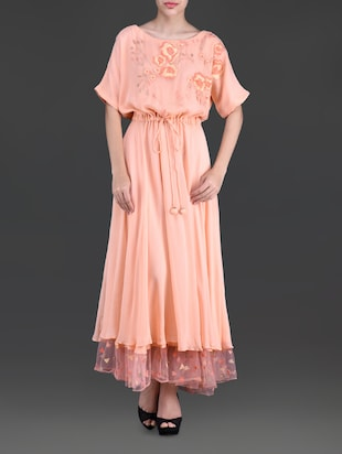 Peach embroidered georgette dress