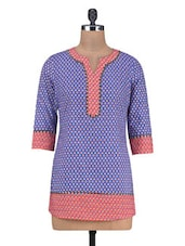 Blue And Pink Cotton Printed Kurti - By