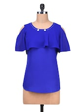 Blue Poly Georgette Embellished Pin Tuck Top - By