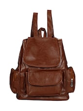 Brown synthetic leather backpack -  online shopping for backpacks