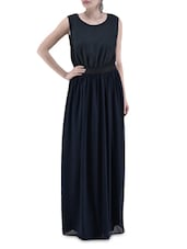 Black And Navy Blue Poly Georgette Maxi Dress - By