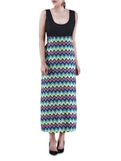 Multicolored Chevron Printed Poly Crepe Maxi Dress - By