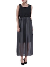 Black And Grey Poly Georgette Maxi Dress - By