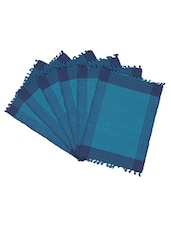 Dhrohar Hand Woven Cotton Table Mat - Pack Of 6 Mats - Blue - By
