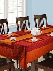 Dhrohar Hand Woven Cotton, Table Cover, Runner And Mat Set For 6 Seater Table - Set Of 8 - By