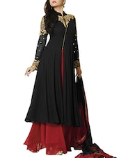 Embroidered Black And Maroon Semi-Stitched Dress Material - By