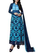 Embroidered Blue Faux Georgette Semi-Stitched Dress Material - By