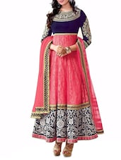 Pink And Blue Brasso Semi Stitched Embroidered Anarkali Suit Set - By