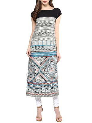 Grey rayon printed long kurta