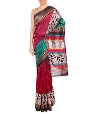 Multicolor Printed Bhagalpuri Silk Saree - By - 1247551