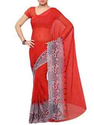 Red Chiffon Printed Saree with blouse